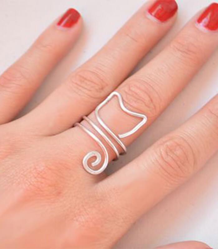 انگشتر دست ساز نقره زنانه گربه