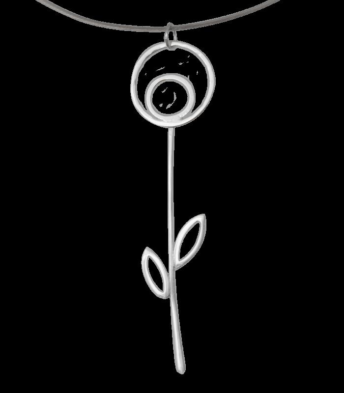 گردنبد دست ساز نقره گل آویز
