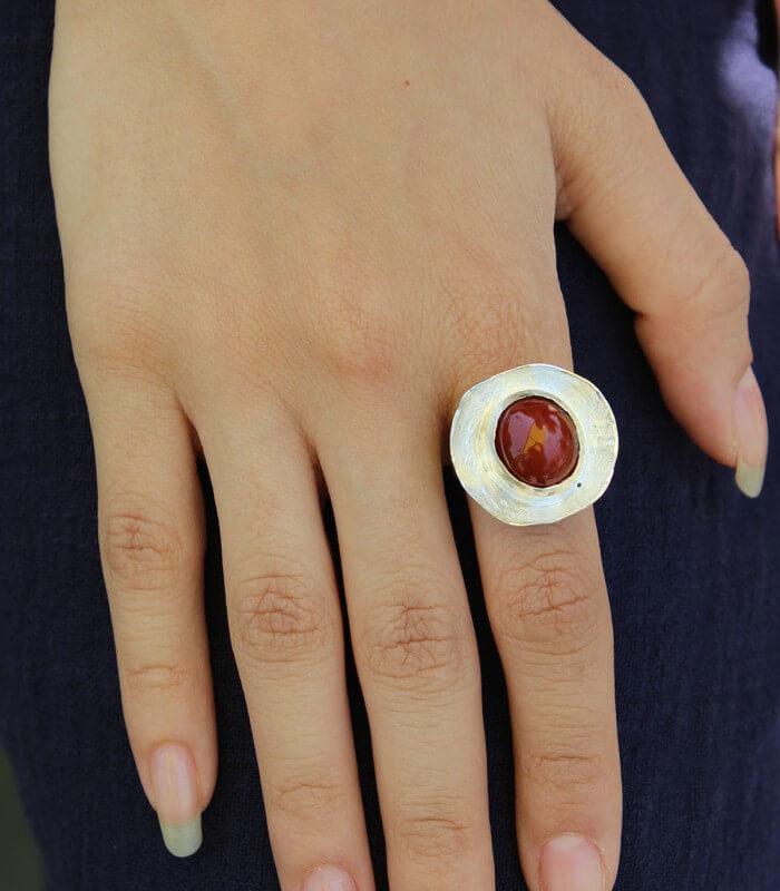 انگشتر دست ساز نقره زنانه بمانی