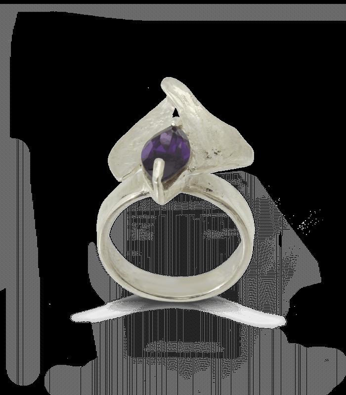 انگشتر دست ساز نقره زنانه سمن