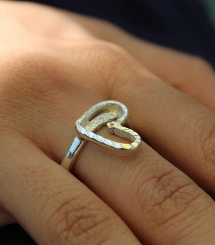 انگشتر دست ساز نقره زنانه سیران