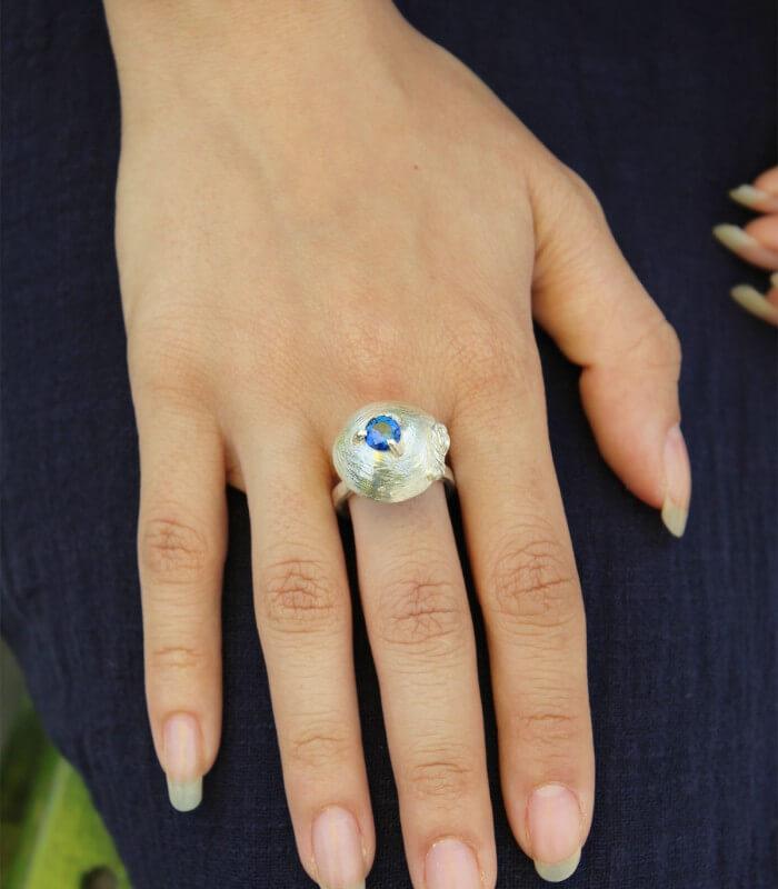 انگشتر دست ساز نقره زنانه مادیا
