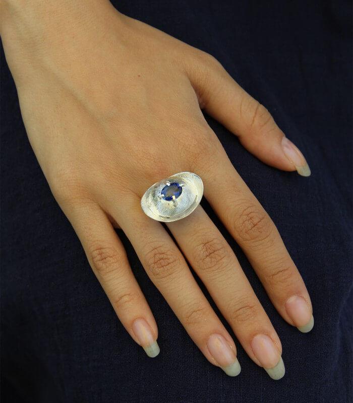 انگشتر دست ساز نقره زنانه ماهبد