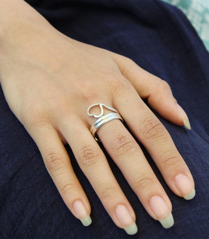 انگشتر دست ساز نقره زنانه دلبند