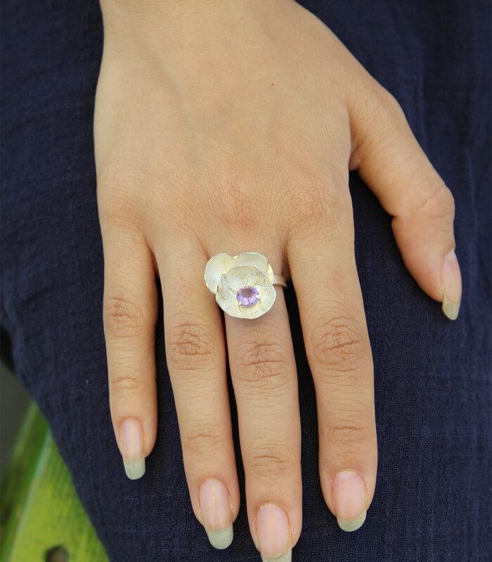 انگشتر دست ساز نقره زنانه برنا