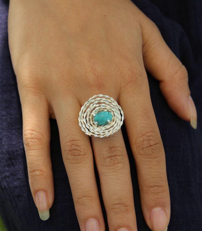 انگشتر فیروزه دست ساز نقره زنانه پاکناز