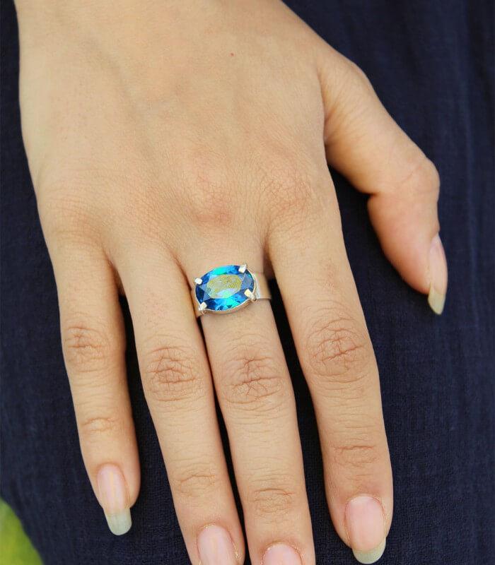 انگشتر دست ساز نقره زنانه چمان