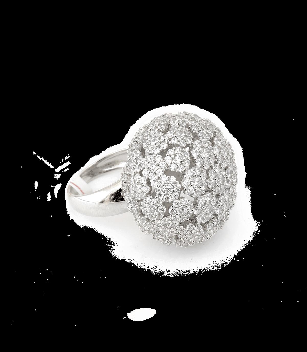 انگشتر زاب نقره زنانه گل کلمی پرنگین