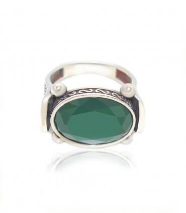 انگشتر نقره مردانه عقیق سبز سیاه قلم