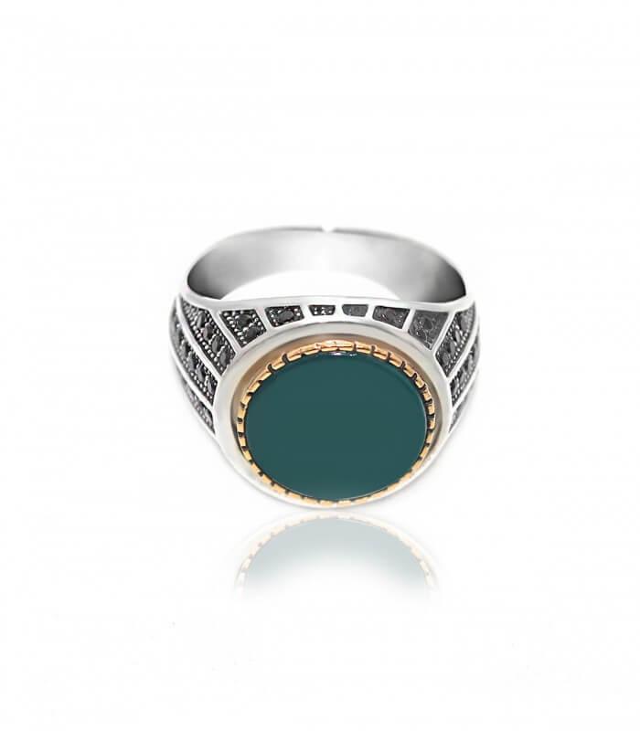 انگشتر نقره مردانه عقیق سبز
