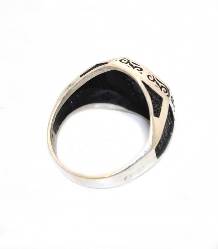انگشتر نقره مردانه سیاه قلم طرح تبر