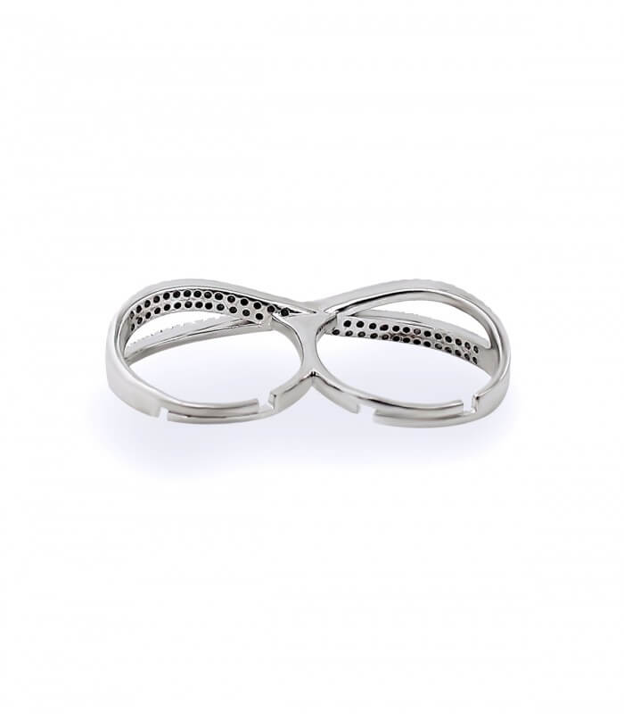 انگشتر نقره زنانه فری سایز دوتایی نگین اتمی