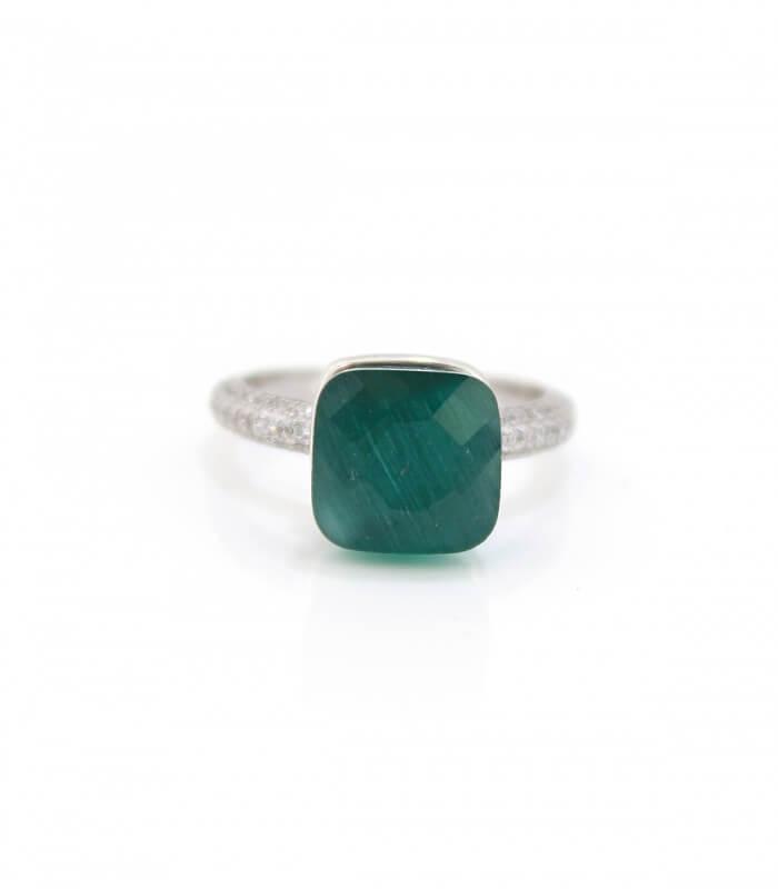 انگشتر نقره زنانه نگین سبز